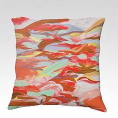 STILL UP in the AIR 4 Fine Art Velveteen Throw Pillow Cover 18x18 by EbiEmporium, Colorful Abstract Autumn Fall Red Orange Rust Brown Mint Green Swirls Clouds Sky, #colorful #swirls #pillow #pillowcover #throwpillow #cushion #autumndecor #autumn #fall #falldecor #warmcolors
