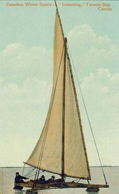 Ice Boating Toronto Bay, Ontario, CA. Vintage postcard