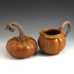 Pumpkin Cream and Sugar Set by baumanstoneware on Etsy, $74.00