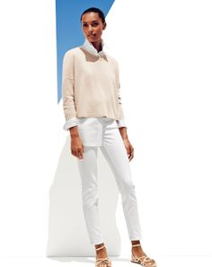 JUL '14 Style Guide: J.Crew Collection cropped cashmere sweater and stretch toothpick jean in white.