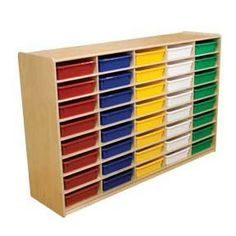 Wood Designs Letter Tray Storage w/ 40 Colored Trays - GREENGUARD Children & Schools certified. Durable 3 or 5 in. letter trays will store all of your small manipulatives, toys, paper and supplies to keep them from getting misplaced. All surfaces a America Furniture, Kids Furniture, Urban Furniture, School Furniture, Office Storage, Storage Organization, Bedroom Storage, Classroom Organization, Mobile Storage Units