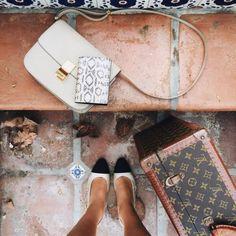 White Céline Classic Box Bag and Louis Vuitton Box
