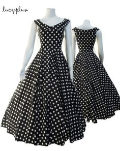 fd622b97392c new Vintage Rockabilly Black Polka dots pinup party dress. Holly Matlock