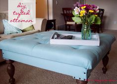 Love, Pomegranate House: DIY Tufted Ottoman from a Coffee Table