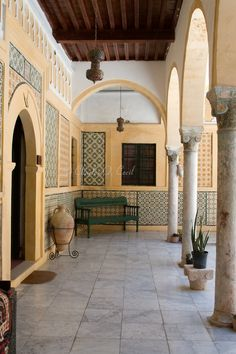 Tripoli, Libya - Karamanli House Courtyard (Dar al-Karamanli), Early 19th. Century, Tripoli Medina (Old City).