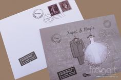 Προσκλητήριο Γάμου Κοστούμι - Νυφικό Postcard Κωδικός: W250   1. Στην αναγραφόμενη τιμή περιλαμβάνεται ο ΦΠΑ 23% 2.Στην αναγραφόμενη τιμή περιλαμβάνεται και η εκτύπωση σε χρώμα της επιλογής σας 3.Η τιμή αφορά παραγγελία με ελάχιστη ποσότητα 40 τεμάχια