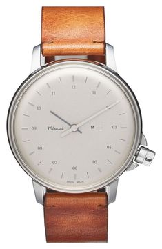Miansai Round Leather Strap Watch, available at Nordstrom Stylish Watches, Luxury Watches For Men, Cool Watches, Skeleton Watches, Seiko Watches, Analog Watches, Beautiful Watches, Smartwatch, Vintage Watches