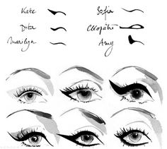 Have you always wanted to achieve that beautiful cat eye look with your eyeliner? If you're having a hard time, there are some easy cat eyes makeup tips you can try out. These tips will help you achieve the look every time in a matter of minutes. Cat Eye Makeup, Hair Makeup, 50s Makeup, Beauty Make Up, Hair Beauty, Eyeliner Shapes, Winged Eyeliner, Eye Shapes, Gel Eyeliner