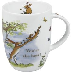 Mug Set of Four  The long-eared hares of this beloved children's story dance playfully across the surface of a porcelain mug. Caption reads 'You're the best.'