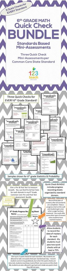 This file includes three quick checks for ALL of the 6th grade math Common Core Standards! There are a total of 102 quick checks included! https://www.teacherspayteachers.com/Product/6th-Grade-Common-Core-Quick-Check-Mini-Assessments-BUNDLE-1436455