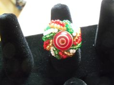 Spiral top, woven holiday color glass beaded ring, christmas ring by…