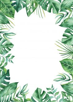 Watercolor frame tropical leaves and flo. Tropical Background, Plant Background, Flower Background Wallpaper, Cute Wallpaper Backgrounds, Flower Backgrounds, Watercolor Plants, Watercolor Leaves, Watercolor Design, Motif Tropical