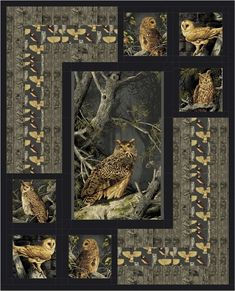 Sewing Quilts Night Owls Quilt Pattern (Intermediate) - The Night Owls Quilt Pattern creates a dramatic setting for a beautiful panel. Fabric shown is Majestic Woods by Andover Fabrics. Owl Quilt Pattern, Quilt Block Patterns, Quilt Blocks, Owl Patterns, Owl Quilts, Bird Quilt, Horse Quilt, Wildlife Quilts, Fabric Panel Quilts