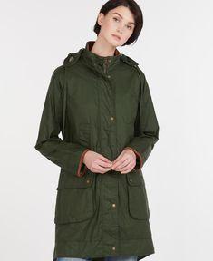 Barbour Alexandra Waxed Cotton Jacket in Green   Barbour Wax Jackets, Jackets For Women, Barbour Wax Jacket, Waxed Cotton Jacket, Capsule Wardrobe, Military Jacket, Raincoat, Feminine, How To Wear