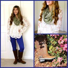 Fall outfit idea: Indigo + lace + rugged boots