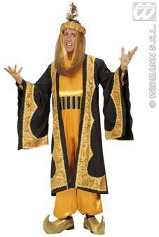 Voici un magnifique déguisement de sultan, très impressionnant ! C'est le costume idéal pour vos soirées orientales ou sur le thème des 1001 nuit.