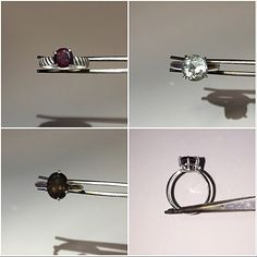 Basket set rings! Pictured is a 7mm round rhodolite garnet (size 7), 8mm round white topaz (size 5), and 10x8mm oval smoky topaz (size 6) ring. #handmade #sterlingsilver #925 #basket #basketset #ring #rhodolitegarnet #rhodolite #garnet #whitetopaz #smokytopaz #topaz #kcan_creations #basketsetting #madetoorder #engagement #engagementring