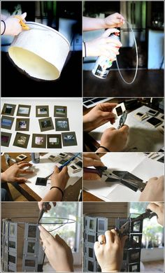 Awesome DIY Photo slides lampshade