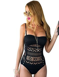 8ac4192ef6 Women s Crochet Lace Halter Straps Swimsuits Bathing Suit US