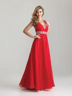 Empire Sweetheart Chiffon Long Crystal Sweet Prom Dress