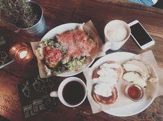 Pancake, Avocado salmon Salad