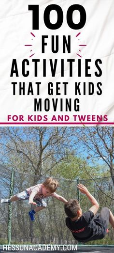 Have you run out of fun ideas for kids to do? Try this list of 100 fun activities to get kids moving for older kids and tweens. These fun activities for kids also double as fun homeschool physical education ideas. Get kids active and keep kids healthy and physically fit! You'll even find some free printable movement ideas for kids. They'll make great kids fitness motivation. You'll find outdoor activities and indoor activities. Fitness Activities, Fun Activities For Kids, Infant Activities, Physical Activities, Preschool Activities, Indoor Activities, Physical Education, Kids Fun, Exercise Activities
