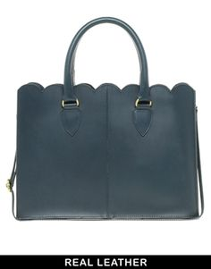 Image 1 of ASOS Leather Scallop Edge Shopper