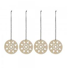 Set of 4 Wooden Star Christmas Ornaments