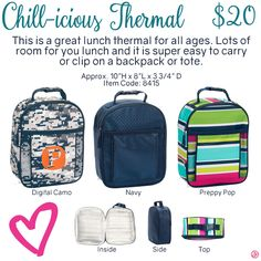 Chill-icious Thermal by Thirty-One. Fall/Winter 2016. Click to order. Join my VIP Facebook Page at https://www.facebook.com/groups/1603655576518592/