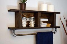 """Rustic Modern Bathroom 24"""" Wood Towel Bar 2 Tier Bath Shelf Ladder Style Dark Walnut His Hers"""