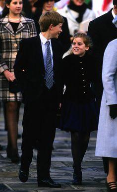 Prince Harry (child of Prince Charles & Diana Spencer) of Wales & Princess Beatrice (child of Prince Andrew & Sarah Ferguson) of York at Greenwich, November 1997.