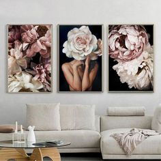 Set of 3 posters Floral Fashion Women Portrait Photography Canvas Painting For Living Room Scandinavian Home Decor Wall Art Printable Gift - Home Design Modern Art Prints, Framed Art Prints, Modern Wall, Room Posters, Living Room Art, Home Decor Wall Art, Wall Art Sets, Printable Wall Art, Retro