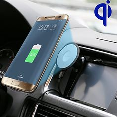Car Qi Wireless Charger Wireless and Wired 2 in 1 Power Qi Charger 12V Automobile Car Wireless Charging Transmitter for Galaxy S7 S6S6 Edge Note 6 5 Google Nexus 6  5X Black 3M -- Click image to review more details.