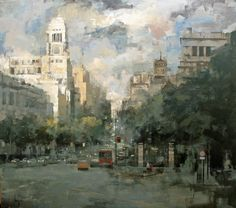 Ricardo Galan Urrejola Abstract City, Abstract Canvas Art, Acrylic Painting Canvas, Art Plage, City Painting, City Art, Urban Landscape, Beach Art, Beautiful Paintings