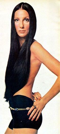 Cher's gorgeous long black hair.