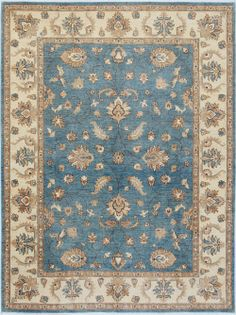 "Grey/Blue Oushak Persian Rug 6' 11"" x 9' 5"" (ft) http://www.alrug.com/9645"