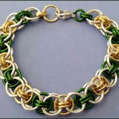 Go Pack Go! Go Pack Go, Chain Mail, Green And Gold, Wire Jewelry, Jewelry Ideas, Cravings, Jewerly, Hand Weaving, Craft Ideas