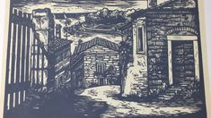 Istria Croatia Original Linocut / Woodcut Print / Original Graphics / Signed Graphics / Wall Printed Decor / Colour Black / Adria / Vintage 1970s Istria Croatia, Colour Black, Colorful Decor, Wall Prints, Needlepoint, 1970s, City Photo, Wall Decor, Unique Jewelry