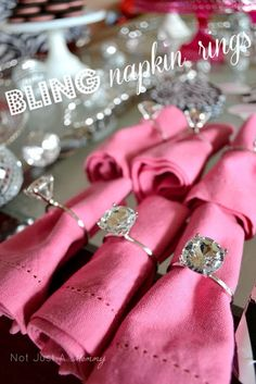 Bling Napkin Rings - Baby Shower Table -  Oriental Trading. Easy to create bling napkin rings for your pink party theme, girl's baby shower, a bridal shower, engagement party or wedding reception.