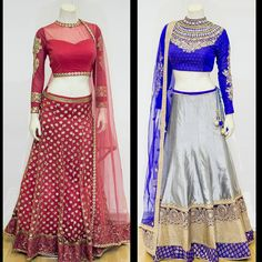 Ladlee Lehengas in red and blue