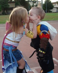 Tidus and Yuna from Final Fantasy X and X-2. Do these kids truly comprehend how epic their costumes are?