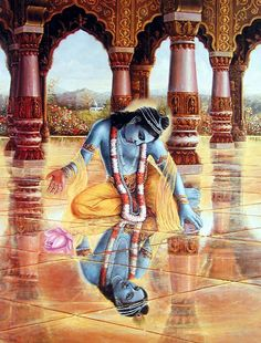 Krishna sees His reflection Krishna Book, Radha Krishna Photo, Krishna Photos, Krishna Art, Radhe Krishna, Lord Krishna, Shree Krishna, Lord Shiva, Indian Gods