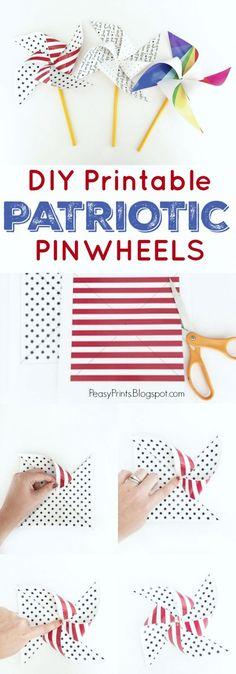 DIY Printable Patriotic Pinwheels, cute of July craft! Patriotic Crafts, July Crafts, Summer Crafts, Diy Crafts For Kids, Holiday Crafts, Summer Fun, Craft Ideas, Hero Crafts, Creative Crafts