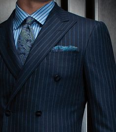 Paul Stuart Phineas Cole Double Breasted Navy Suit with Grey Chalk Stripe