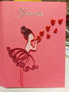 Ballerina, hearts, Valentine's Day card by quilling Paper Quilling Cards, Paper Quilling Patterns, Valentine Day Cards, Valentine Crafts, Table Numbers, Diy Cards, Bella, Ballerina, Paper Art