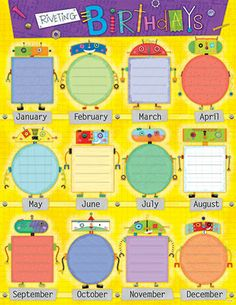 Creative Teaching Press Riveting Robots Birthday Poster Chart Celebrate birthdays throughout the year! Use to decorate bulletin boards, hallways, doors, and common areas! Robot Classroom, Classroom Themes, Classroom Organization, Birthday Charts For Kindergarten, Class Birthdays, Birthday Bulletin Boards, Robot Theme, Creative Teaching Press, Class Decoration
