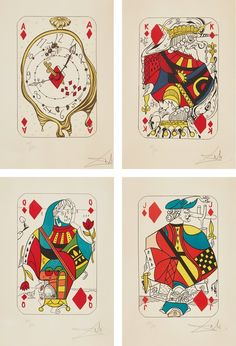 From Phillips, Salvador Dalí, Playing Cards: Ace of Diamonds; King of Diamonds; Queen of Diamonds; and Jack of Diamonds, from Playing-Cards Four li… Playing Card Tattoos, Playing Cards Art, Playing Card Design, Salvador Dali Tattoo, Salvador Dali Paintings, Wave Drawing, Max Ernst, Deck Of Cards, Art Plastique