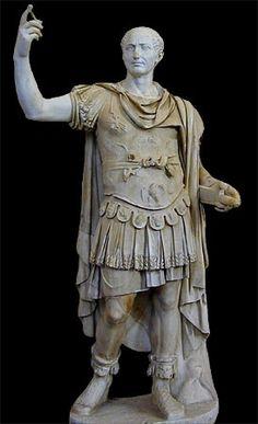 Statue of Julius Caesar in the attire of a general, including lorica musculata and paludamentum.