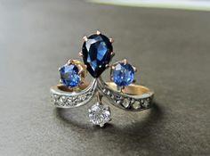Antique Ring Edwardian Sapphire and Diamond Tiara Ring