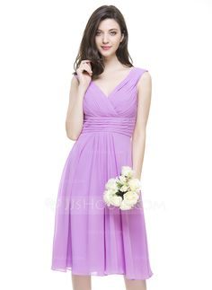 A-Line/Princess V-neck Knee-Length Chiffon Bridesmaid Dress With Ruffle (007067269) - JJsHouse